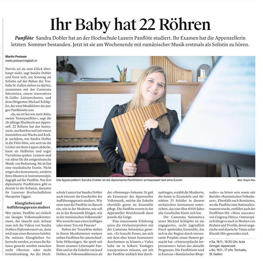Zeitungsbericht Tagblatt: Ihr Baby hat 22 Röhren